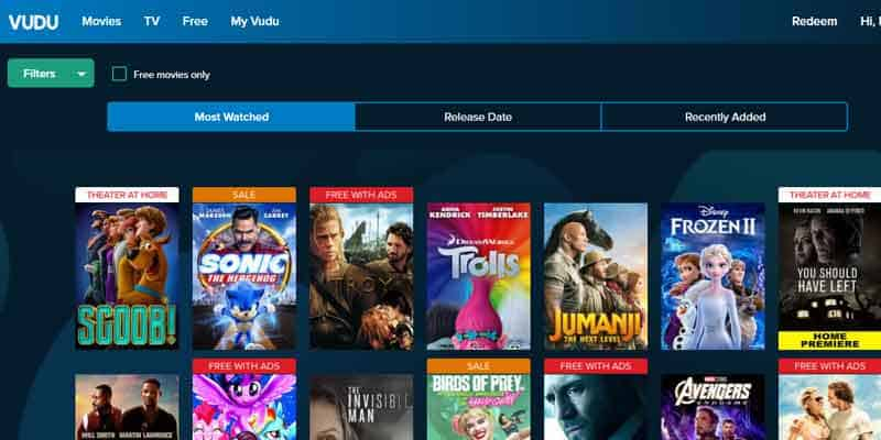 Stream movies on Vudu