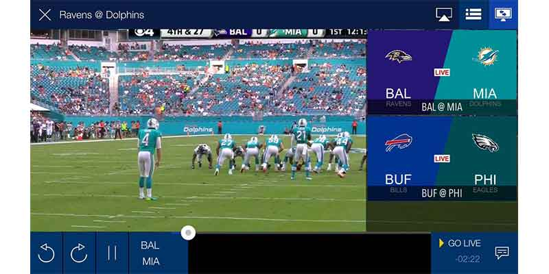 NFL Game Pass Interface