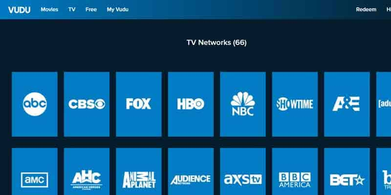 Stream TV networks on Vudu